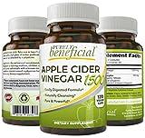 Vinagre de sidra de manzana orgánica 1500 mg- crudo, sin OMG, extra fuerte, 120 o 180 cápsulas (vegetariano), 180 Capsules