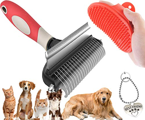 Undercoat rakeDematting CombBath Brush 3in1 pet Grooming Tool Kit for Dog amp Cat Brush for Deshedding Short and Long haired Undercoat Mats amp Tangles Removing No More Nasty Shedding and Flying Hair