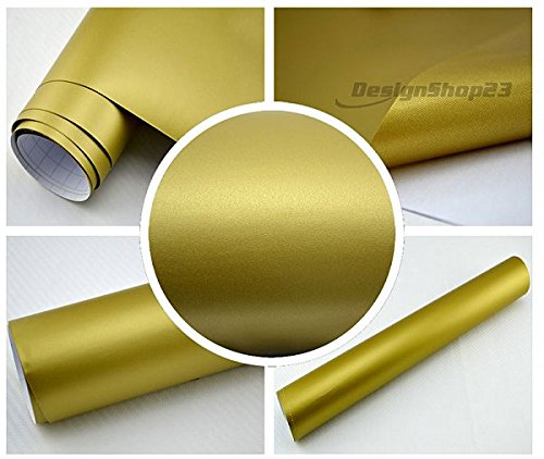 4,28€/m² Auto Folie - GOLD MATT - 30 x 152 cm BLASENFREI selbstklebend flexibel Car Wrapping Klebe Folie