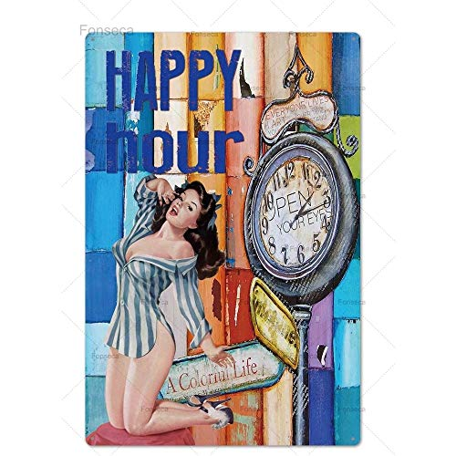 Pin Up Girl Plaque Metal Vintage Sexy Metal Sign Tin SignMetal Poster Wall Decor for Bar Pub Club Man Cave Retro Signs 20 * 30cm