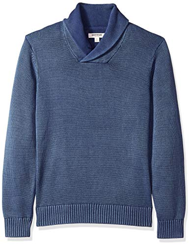 Amazon Brand - Goodthreads Men's Soft Cotton Shawl Collar Sweater, Washed Blue, Medium
