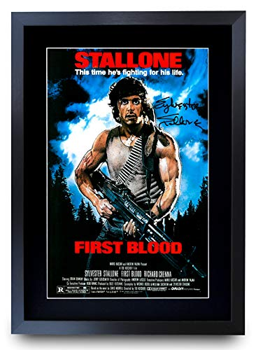 HWC Trading Poster mit Autogramm, Motiv First Blood Sylvester Stallone Rambo, gerahmt, A3