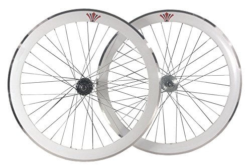 Tiefer V 50mm Fixie, Fixed Gear, Track, Single Speed Bike Räder W. Flip Flop Hubs, weiß