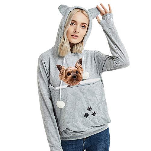 Womens Pet Carrier Sweater Dog Cat Pouch Hoodies Plus Size Tops Light Grey 3XL