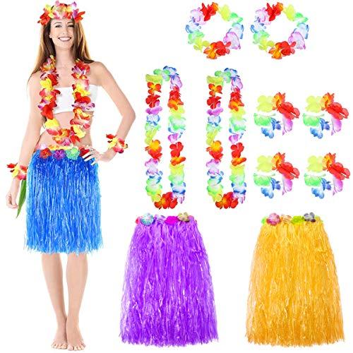 Hawaiian Grass Hula Falda, Falda Hawaiana,Multicolor Paja Hula Faldas con Banda Elástica En La Cintura,para Fiesta Hawaiana Halloween Accesorios Decoración.