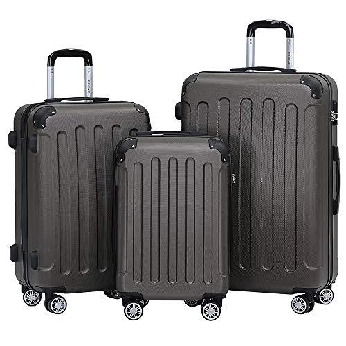 BEIBYE- Hartschalenkoffer Koffer Trolley Rollkoffer Reisekoffer Zahlenschloß 4 Zwilings-Rollen (Coffee, Koffer-Set)