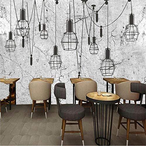 Muursticker retro industriële stijl grijs cement muur kroonluchter achtergrond wandfoto behang 3D koffiehuis restaurant bar decoratie behang 3D 430 cm x 300 cm.