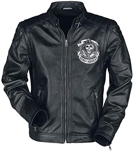 Sons of Anarchy Embossed Reaper Männer Lederjacke schwarz XL 100% Leder Biker, Fan-Merch, TV-Serien