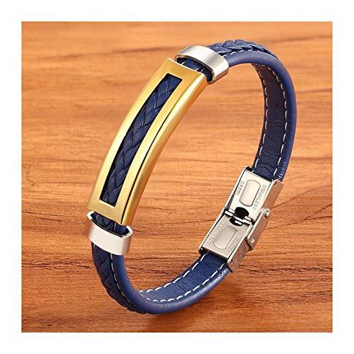 WAZG SYBLD - Accesorio de combinación rectangular multicolor, pulsera clásica para hombre (longitud: 21 cm, color metálico: oro)