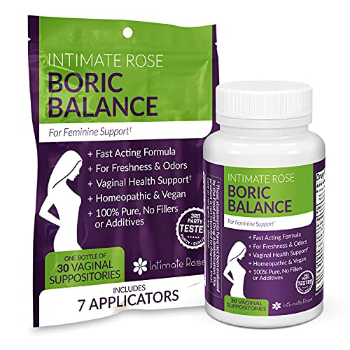 Boric Acid Vaginal Suppositories - 30 Count (600mg) + 7 Applicators - Made in USA - Helps Fight Against BV, Yeast Infections, Odor - Promote pH Balance for Women Vaginal Health