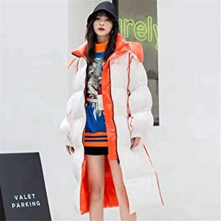 Women's Winter Down Jacket White Duck Down Thicken Warm Hoodie Fashion Loose Jacket Zipper Water Resistant Overcoat Coats,White