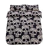 SDIII 3PC Black and Cream Skull Bedding Microfiber King Skeleton Duvet Cover Set