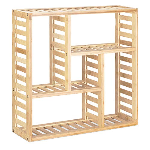 Navaris Bambus Badregal inkl. Montage-Material - 50x50x15cm Regal für Bad Küche Büro Flur Wohnzimmer - Wandregal Bambusregal Badezimmer