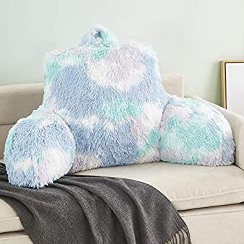 JILLCHE BED Stylish Ross Fur Adults & Kids Reading Pillow Cozy Soft Bed Wedge Pillow with Premium Stuffing Pastel Back Support Pillow Gift Sit up Bolster Pillow with Arms Bed Chair Back Cushion