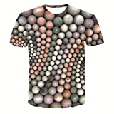 Men's and Women's 3D Color Vertical Ball T-Shirts Crewneck Cool Short Sleeve Funny Graphic Print Top Casual Tees XL