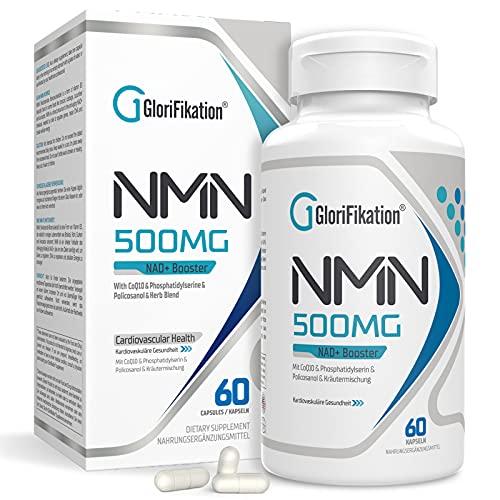 NMN Supplement | 750mg Advanced NMN Enthält alle 7 Inhaltsstoffe in 1 Kapseln | NMN 500mg mit 100mg Coenzym Q10 zur Unterstützung der Allgemeinen Gesundheit NAD + Booster für Anti-Aging | 60 Kapseln