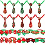 Weewooday 20 Pieces Christmas Dog Ties Adjustable Small Pet Bow Tie and Neckties for Christmas Festival Dog Ties Dog Cat Collar Grooming Accessories