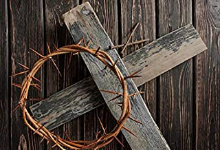 Yeele Backdrops 7x5ft Crown of Thorns Nails Jesus Dark Brown Wooden Floor Cross Lron Nail Christ Resurrection Easter Christian Pictures Adult Artistic Portrait Photoshoot Props Photography Background