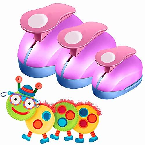 VSREI Stanzer Rund, 3 Stück Stanzer Kreis Motivstanzer Rund Papierstanzer Motivlocher Stanzer Set Ausstanzer Motiv-Locher für Geschenkanhänger, Basteln, Scrapbooking, Fotos, Grußkarten,9mm 16mm 25m