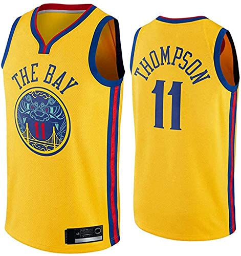 Enid Camiseta de baloncesto Klay Golden State de Thompson Warriors bordada de malla de entrenamiento sin mangas # 11 Gold Clothes