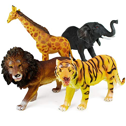 Boley 4 Piece Jumbo 11  Safari Animals Set - Large Zoo Animals and Jungle Animals Set - Includes Elephant  Giraffe  Lion  and Tiger - Ideal Educational Toy for Kids  Children  Toddlers