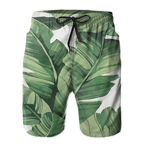 Olverz Pantalones cortos de playa para hombre, diseño de árbol de plátano, de secado rápido, con cordón, con bolsillos