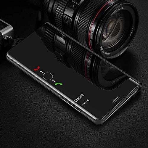 TANYO Hülle Geeignet für Huawei P smart 2021, Plating Smart Clear View Case, Luxury Mirror Ultradünne Flip Handyhülle. Schwarz