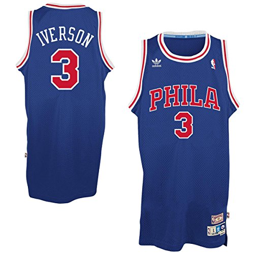 Allen Iverson Philadelphia 76ers #3 Blue Youth NBA Hardwood Classics Jersey (X-Large 18/20)