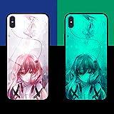 Carcasa de Telefono,Funda Protectora para iPhone Funda para Teléfono 3D Carcasa de Vidrio Templado Brillo Nocturno Antifricción Anime Niñas Serie (Compatible con iPhone 8 Plus)