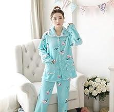 Dames Pyjama Set,Blauw Warm Flanel Casual Lange Mouw Revers Dikke Nachtkleding Zachte Lange Broek Loungewear Leuke Herfst ...