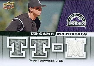 Autograph Warehouse 343348 Troy Tulowitzki Player Worn Jersey Patch Baseball Card - Colorado Rockies 2009 Upper Deck Materials No. GM-TT