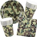 25-teiliges Party-Set * Army + Camouflage * für Geburtstag oder Motto-Party mit Pappteller +...