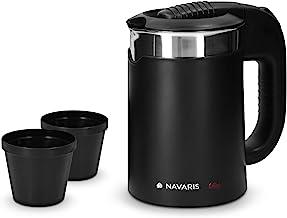 Navaris Edelstahl Reisewasserkocher 0,5L - mit 2 Trinkbechern - 16 x 11 x 17cm - Mini Reise-Wasserkocher 1100W für Camping - Reisekocher in Schwarz