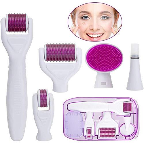 QIYE Dermaroller Set, Derma Roller Kit, für Körper, Gesicht, Enge Bereiche, Hautpflege gegen Falten, Dehnungsstreifen, Bartwachstum, Haarausfall nachwachsen