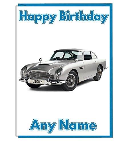 Geburtstagskarte, Vintage-Design, Motiv: Aston Martin aus