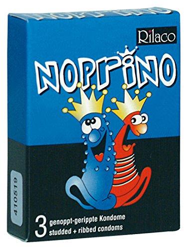Rilaco Noprino - 3 pinke Kondome mit Rippen und Noppen für den extra Kick