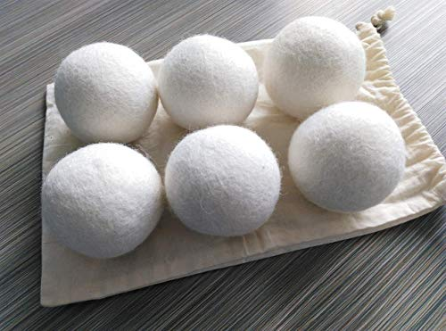 Organic Wool Dryer Balls - Reusable Wool Fabric Softener Balls - All-Natural Laundry Dryer Balls - Odorless & Chemical Free - Remove Pet Hair, Reduces Clothing Wrinkles, Save Time - White (Pack of 6)