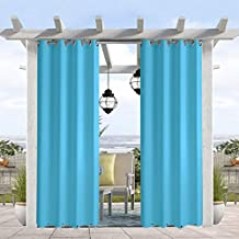 Pro Space Water & Wind Resistant Outdoor Curtain, Thermal Insulated Grommets on Top and Bottom, Privacy Panel Drapery for Patio Porch Gazebo Cabana, 50