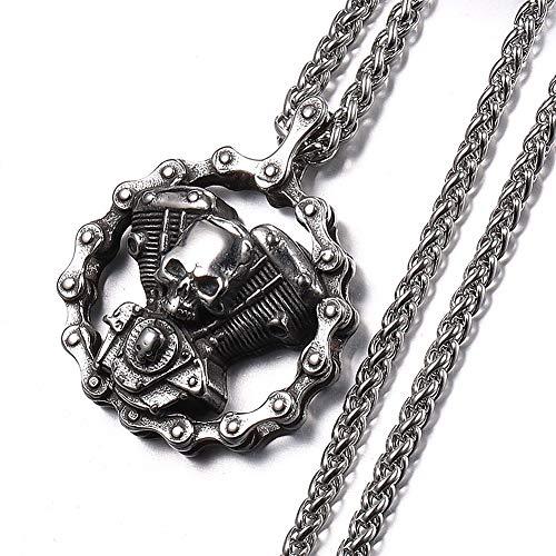Dixinla Retro Biker Colgante Joyas Skull Engine King Chain, Punk Steam Mecánico de Acero Inoxidable Hip Hop Rock Collar de Regalo, con 3 Mm Cadena de Flores de Trigo Azul,Double Skeleton