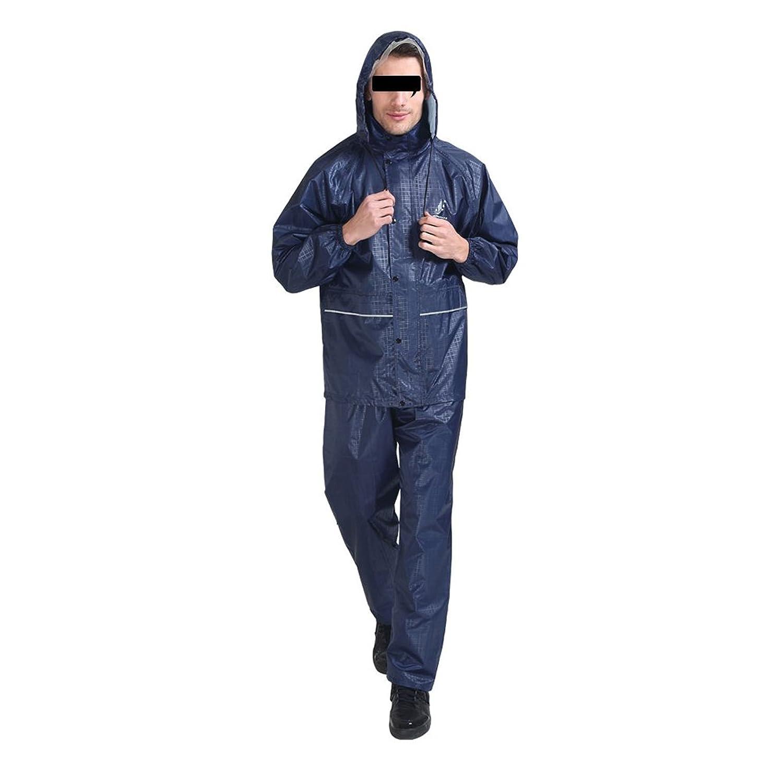ZEMIN ポンチョ レインウェア レインコート ポンチョ ウインドブレーカー 防水 カバー ユニセックス ズボン ポリエステル、 2色、 3サイズあり (色 : 青, サイズ さいず : XXL)