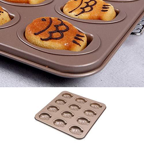 Bandeja para hornear - Lindo pez de dibujos animados en forma de 12 rejillas Bandeja para hornear pasteles antiadherente Molde para galletas para uso en la cocina