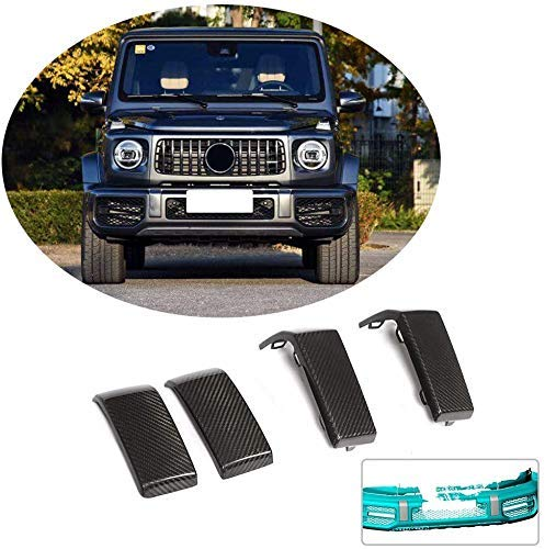 QTCD The Front Rear Bumper Protection Fits for Mercedes-Benz G-Class G63 Amg Wagon 2019 Carbon Fiber Cf Fender Flared Covers 4-TLG
