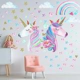 3 hojas Unicornio Wall Decal Etiquetas engomadas, Decoración de pared de arco iris de unicornio de gran tamaño for niñas Dormitorio for niños Camisero de Decoración de la fiesta de cumpleaños pegatina