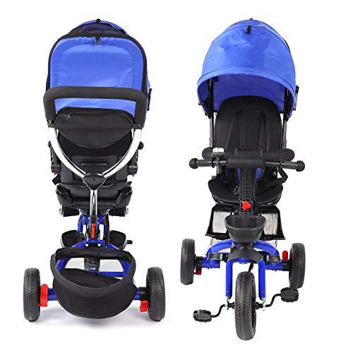 Ejoyous Triciclo Infantil, Triciclo Jogger portátil Plegable con Varilla de Empuje y 2 Frenos, Asiento con cinturón de Seguridad y cesto portaobjetos Apto para niños de 1 a 5 años(Rojo)
