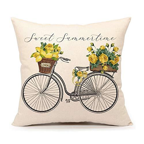 4TH Emotion Sweet Summer Time Lemon Fahrrad Wurfkissenbezug Bauernhaus Frühling Kissenbezug für Sofa Couch 45,7 x 45,7 cm Baumwolle Leinen