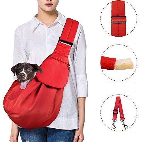 Lukovee Pet Sling, Hand Free Dog Sling Carrier Adjustable Padded Strap Tote Bag Breathable Cotton Shoulder Bag Front Pocket Safety Belt Carrying Small Dog Cat Puppy Machine Washable