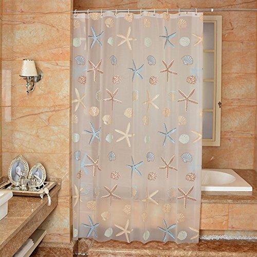 Duschvorhang Anti Schimmel, PEVA Wasserdicht Seestern Motiv Badezimmer Duschvorhang mit Ösen, mit Haken 120/150/180/200 x 200cm