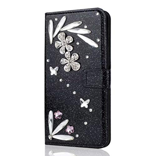 Funda para Samsung Galaxy S21+ Plus, de piel sintética con tapa y diamantes de imitación, con cierre magnético y ranuras para tarjetas, para Samsung Galaxy S21+ Plus, color negro