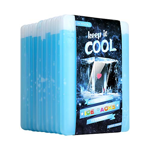 10 x Ice packs for Lunch Box - Freezer Ice packs - Slim Long Lasting Cool packs for Lunch Bags and Cooler, Set of 10, Poker Design (Heart)