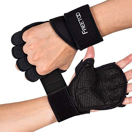 FREETOO Fitness Handschuhe Atmungsaktive rutschfeste Trainingshandschuhe Sport Handschuhe mit Handgelenkstütze und Palm Schutz, zum Klimmzug Cross Training und Kraftsport für Herren und Damen